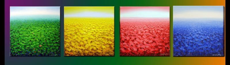 风景油画:丰收麦田,凡高油画
