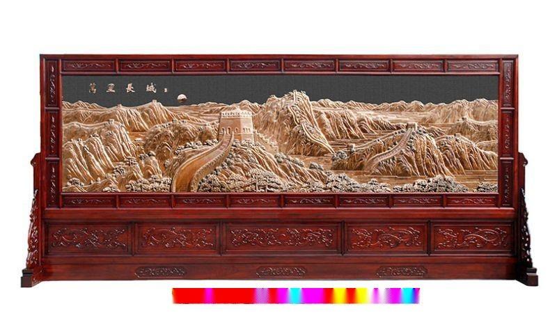 红木国画屏风     底座,框架用红木雕刻而成,画面用国画组成的