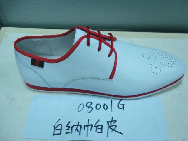 白色纳帕皮男鞋