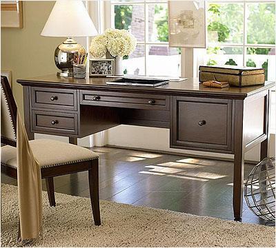 美式新古典天然纯原木书桌