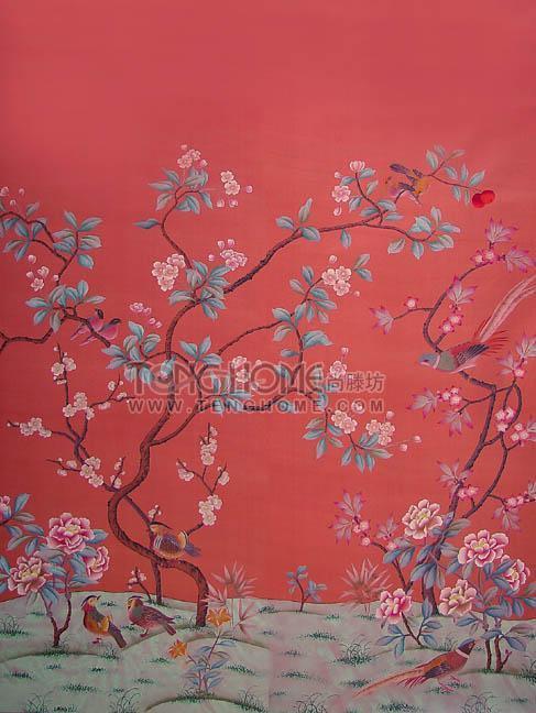 紅色中式墻紙貼圖