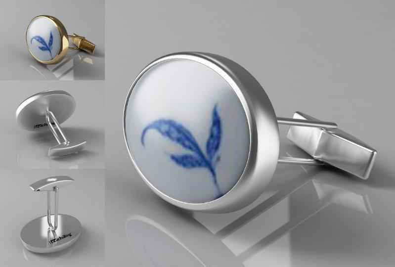 纯银青花瓷手绘藏品袖扣