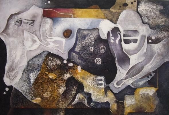 油画作品欣赏(二)抽象油画   敦煌网:把现代抽象艺术手工布面