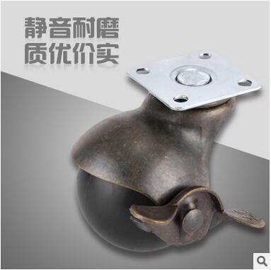 廠家供應地球輪子 1.5寸平板帶剎車青古銅地球輪 沙髮腳輪廠傢俱萬向腳輪子CC-2204