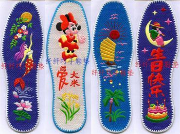 手工绣花鞋垫--老鼠爱大米