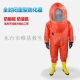 消防重型氣密性A級全封閉防化服可防護液氨氨氣酸鹼化學品 連體式