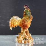 聖鑑琉璃廠家直銷2016雞年高檔禮品錢幣古法琉璃雞擺件一鳴驚人