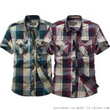 韓版男士修身襯衫 條紋短袖襯衫 都市戶外時尚T恤襯衫
