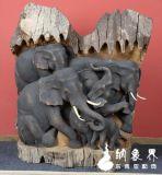 老柚木大象浮雕