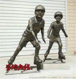 兒童玩輪滑雕塑,輪滑少年雕塑