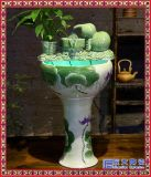 中式陶瓷立柱噴泉流水擺件客廳家居桌面金魚養魚缸景觀加溼器