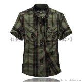 戰場短袖 新款男士休閒格子襯衫 時尚休閒男士條紋襯衫 襯衫批發