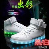 外貿爆款USB充電童鞋廠家批發發光鞋led高幫板鞋夜光燈鞋運動鞋休閒鞋