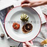 工廠定製搪瓷盤西餐盤水果盤沙拉盤意麪碟搪瓷碟logo定製