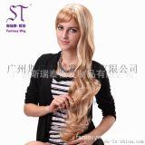 廣州假發生產廠家 女士金色長捲髮假髮 歐美時尚