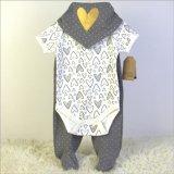baby clothing set 3pc 嬰兒純棉外貿套裝三角巾哈衣長褲三件套