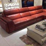 現代休閒真皮客廳組合沙發頭層黃牛皮客廳傢俱S131