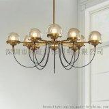 北歐設計工業風鐵藝吊燈 簡約客廳餐廳臥室咖啡廳古銅色多頭吊燈