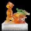 禮品批發訂製 猴年新品 金猴送百財琉璃工藝品