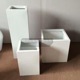 定做 四方形不鏽鋼白色烤漆盆景花盆花瓶 耐氧化 耐腐蝕