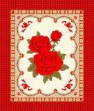 寬幅春亞紡紅玫瑰圖案牀墊裝飾布 (WH247#)