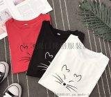工廠供應2018新款套頭圓領T恤夏季女式T恤熱賣