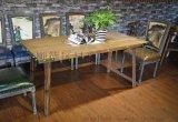 美式實木餐桌 鐵皮包邊工業風洽談桌 可定製
