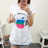 韓版個性蘋果印花圓領t恤  夏季短袖上衣寬鬆大碼t恤【外貿女裝大量現貨批發】