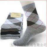 春秋冬款 男士純棉襪子 全棉運動 中筒菱形純色男襪
