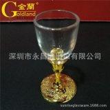 龍鳳高腳金屬鍍金白酒杯烈酒杯玻璃杯