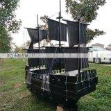 黑色西方海盜船實木打造廠家直銷景觀木船風景船