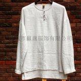 中式棉麻男士手工扣灰白改良唐裝禪服休閒襯衫外套茶服漢服
