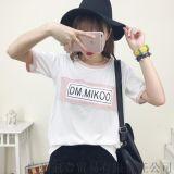 6韓版學院風短袖t恤 個性拼接字母印花寬鬆百搭上衣【免費加盟一件代發】