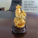 廠家大量熱銷絨紗金金雞擺件、生肖擺件、辦公裝飾禮品、雞年禮品