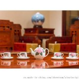 銀銀瓷器 國瓷工藝 醴陵釉下五彩瓷 八仙茶具套裝