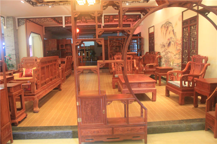 红木博古架月洞门 中式圆洞门 非洲黄花梨木实木茶具架子