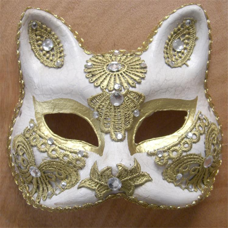 节日化妆舞会动物面具手绘纸浆猫脸面具批发
