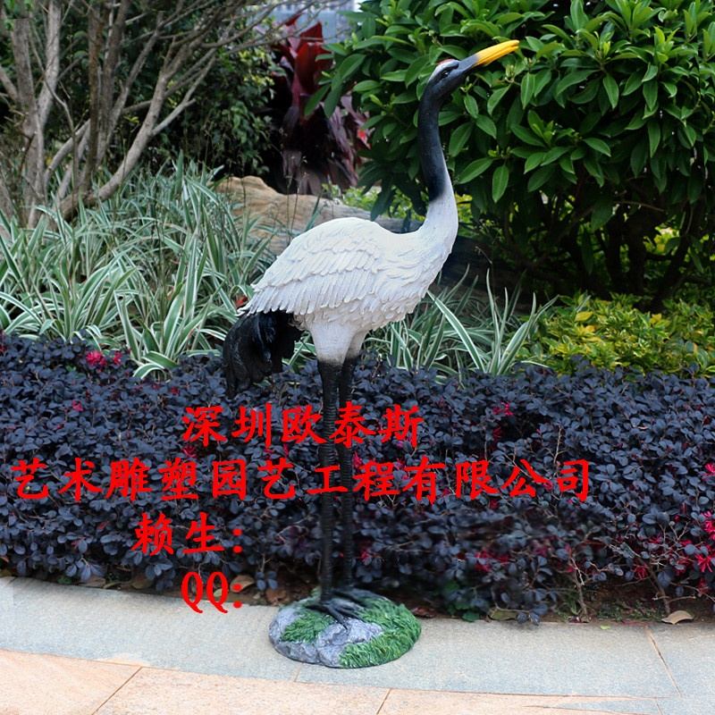 玻璃钢树脂工艺品厂家定制户外喷泉水池装饰室内模拟动物风水招财仙鹤