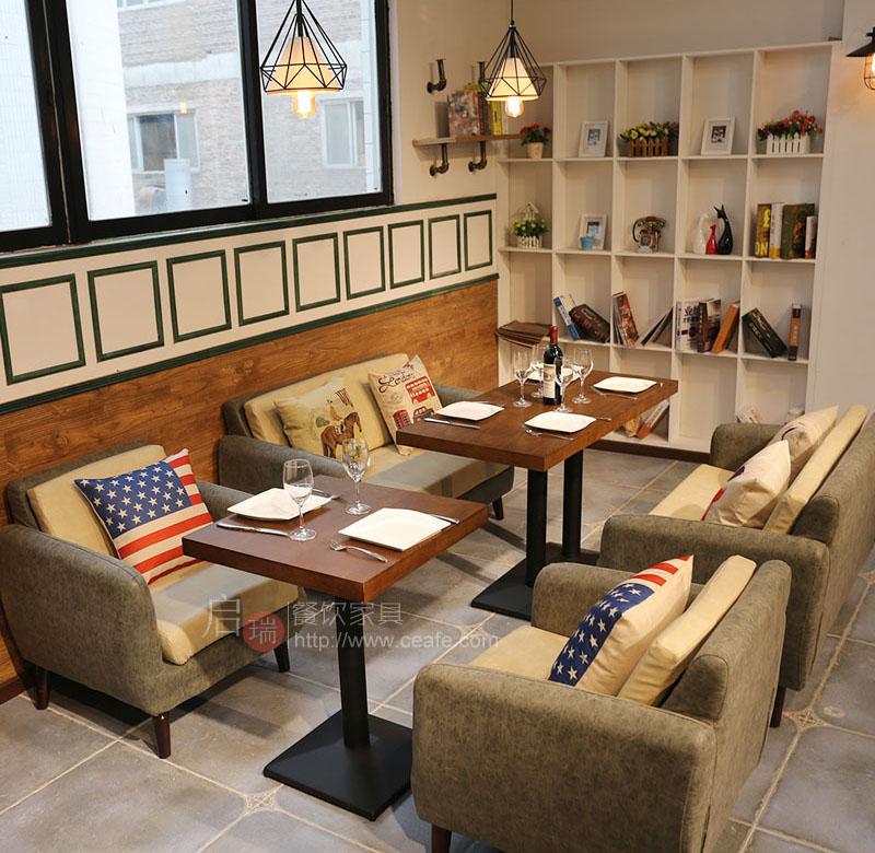 定制美式复古咖啡厅沙发西餐厅自助火锅店烤肉店卡座