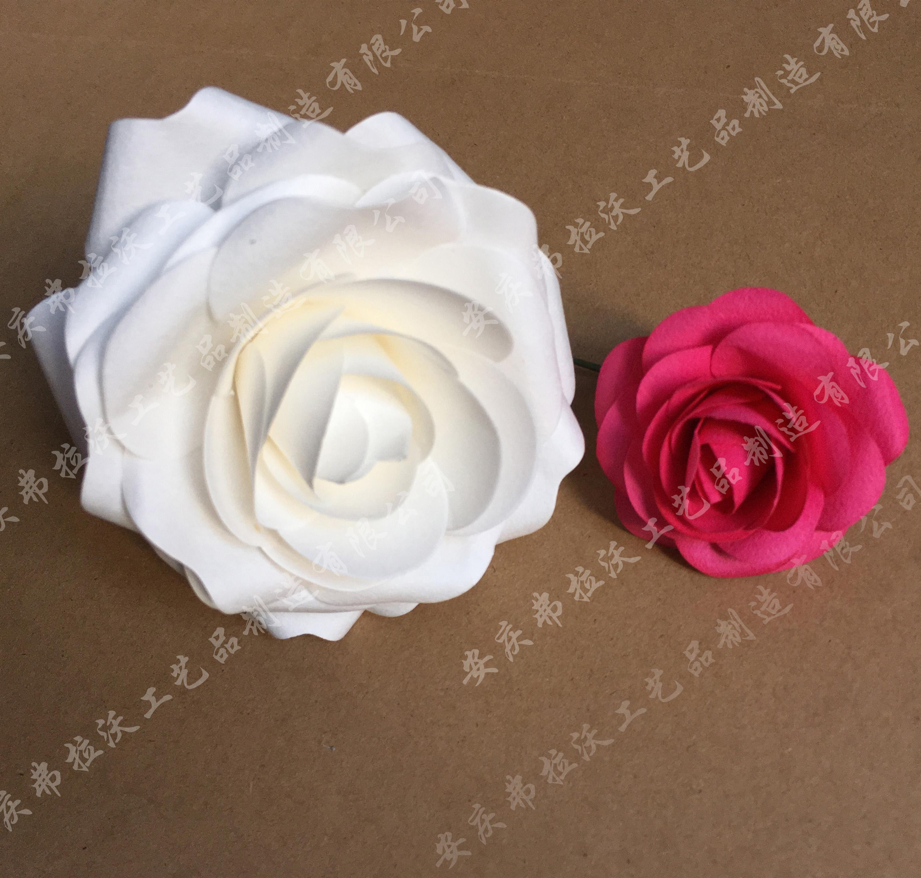 > 手工纸花玫瑰纸花模拟纸玫瑰婚礼装饰玫瑰花