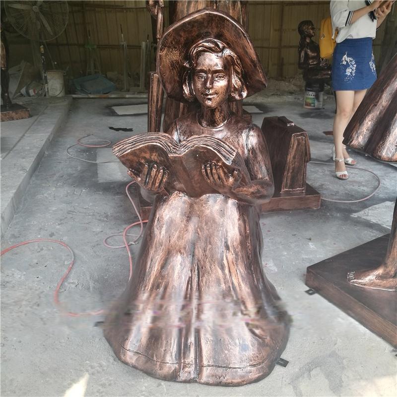 跳舞雕塑 玻璃钢小品 海南仿铜女孩跳芭蕾舞造型摆件定做