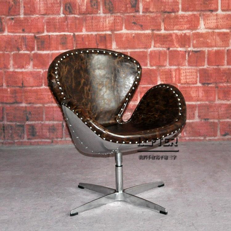 loft工业风个性创意铝皮铆钉天鹅椅雅各布森设计师椅酒吧咖啡店椅