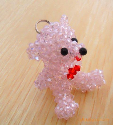 串珠小挂件 水晶串珠钥匙扣 手工串珠动物挂件
