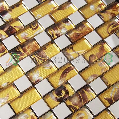 银色不锈钢加凤尾纹夹胶玻璃马赛克背景墙瓷砖厂家直