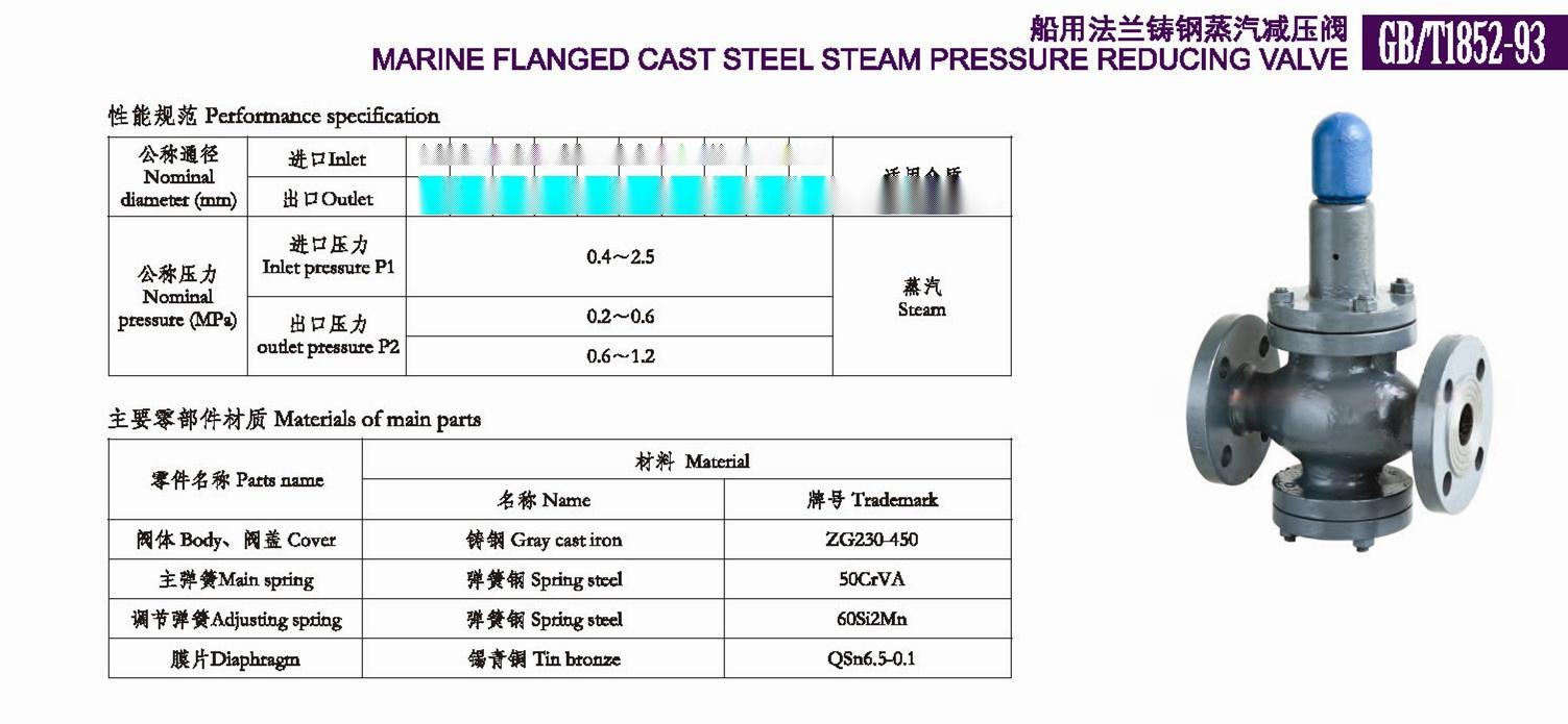 船用法兰铸钢蒸汽减压阀gb/t1852-93供应船用国标蒸汽图片