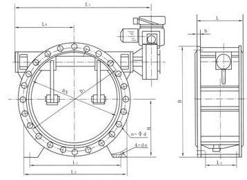 D944X型蝶阀翻标志v蝶阀图纸规格上电版式动机尺寸图纸的法兰图片