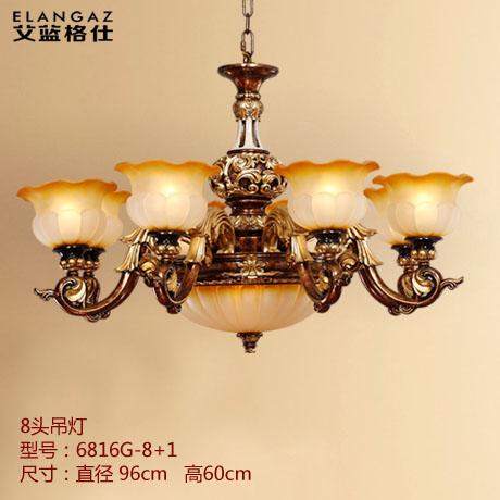 欧式复古吊灯 客厅灯 树脂雕花欧式灯具 贴金箔工艺8头吊灯 艾蓝格仕
