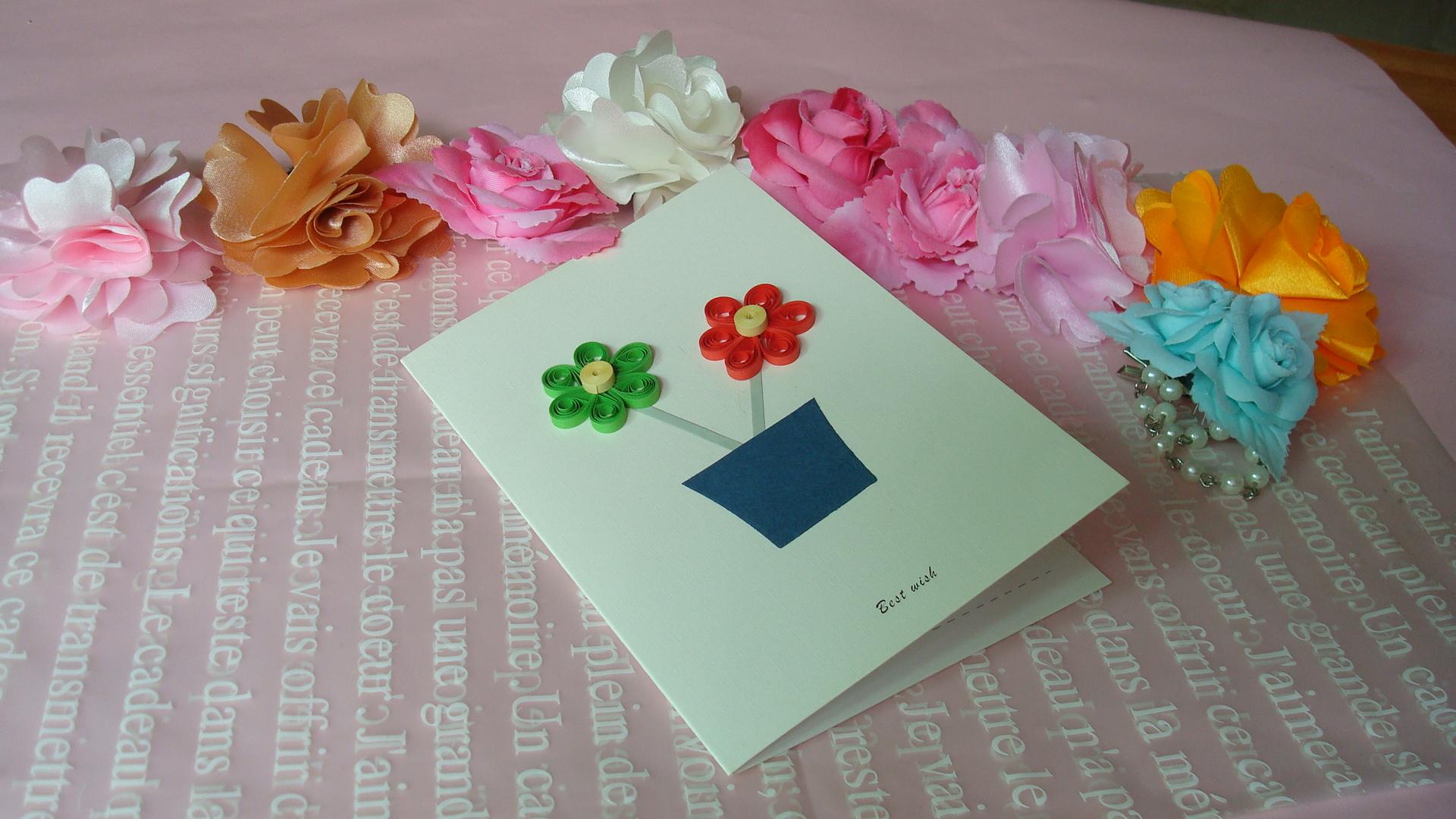 衍纸产品diy纯手工立体贺卡 祖国花朵