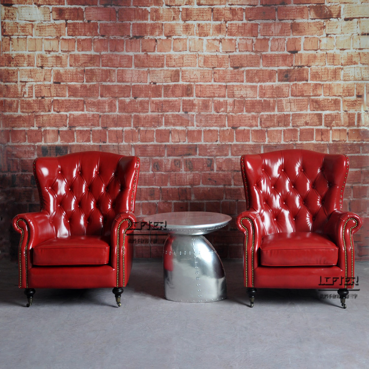 美式乡村皮沙发椅个性复古拉扣单人真皮老虎椅酒吧饭店客厅咖啡椅