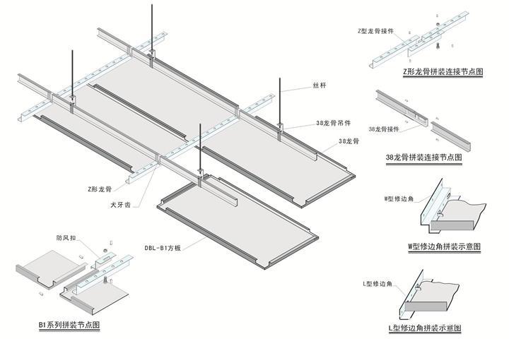 打破天花板的单调,给予人典雅的感觉,5,铝扣板通过龙骨卡插固定,每块